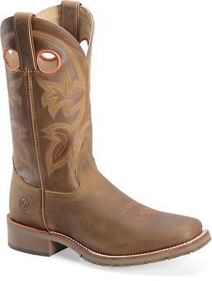 Mens Double H Brown Rust Shafts Leather Square Toe Work Cowboy Boots 11 D SaLe!
