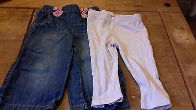 2 pairs girls trousers 6-9 months denim jeans from Next/pink leggings F and F