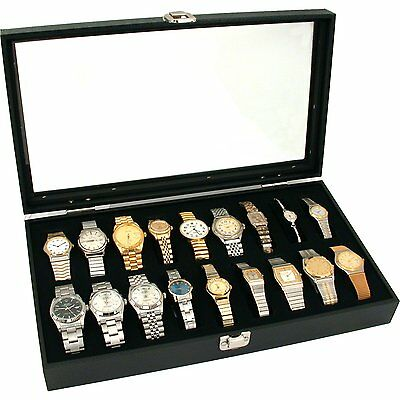 18 Slot Glass Top Watch Display Case Storage Box