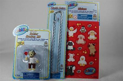 Webkinz Set of 3 'Doctor Monkey M.D. Figurine +Necklace+Stickers' All NEW!
