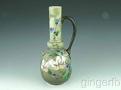 Antique Victorian Hand Painted Milk Glass Ewer With Tiger Lilies