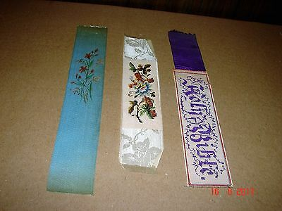 3  Antique Silk Bookmarks From 1846 Bible of Rev. James Laurie, Washington, DC