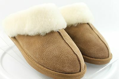 SONOMA Suede Sheepskin Lined Semi-Firm Soles Slippers Sz 9-9.5 EUC