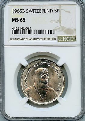 Beautiful 1965-B NGC MS65 Switzerland 5 Francs Coin .835 oz Silver NC843