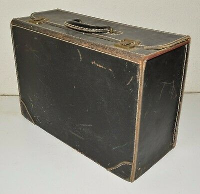 Vintage 1920s WESTLAND Black Leather Aged Doctor's Lawyer's Train Briefcase Rare