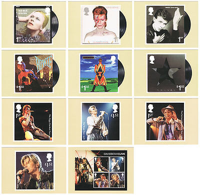 2017 David Bowie PHQ 426 - Mint Cards Set of 11 Royal Mail Postcards