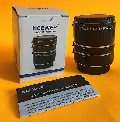 NEEWER 3-Pc (12-20-36mm) Macro Automatic Extension Tube Set DG-C for Canon EOS