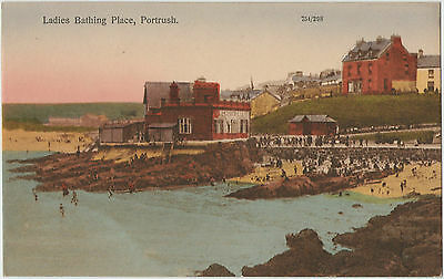 LADIES BATHING PLACE PORTRUSH EARLY 1900s POSTCARD UN-POSTED 754/298