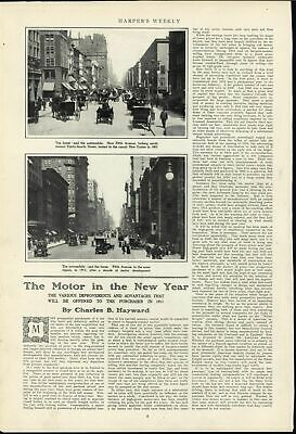 Fifth Avenue New York City Rise Automobile Traffic Decade of Progress 1911 cars