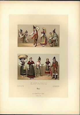 Spain Dancing Umbrella Ethnic Costume Music c.1888 antique colorful print