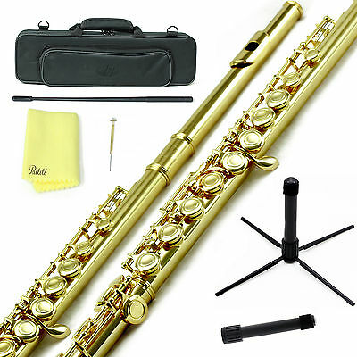 Sky Gold Plated C Close Hole Flute w Case, Stand, Cleaning Rod, Cloth and More