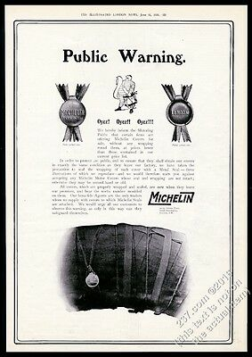 1910 Michelin Man Bibendum with drum Michelin Tire BIG British print ad