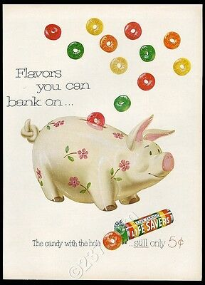 1952 piggy bank art Life Savers LifeSavers candy vintage print ad