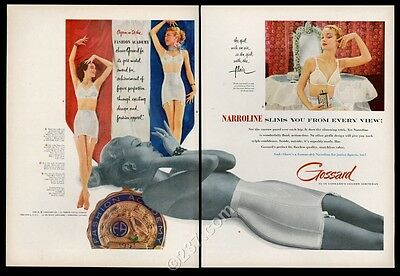 1951 Gossard lingerie 4 women color photo bra panty girdle vintage print ad