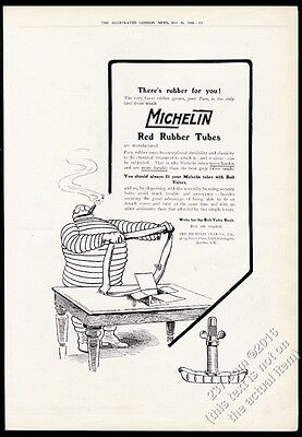 1910 Michelin Man Bibendum with tube art Michelin Tires BIG UK vintage print ad