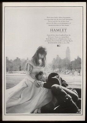 1964 Julie Harris Alfred Ryder photo Shakespeare in the Park Hamlet WCBS NYC ad