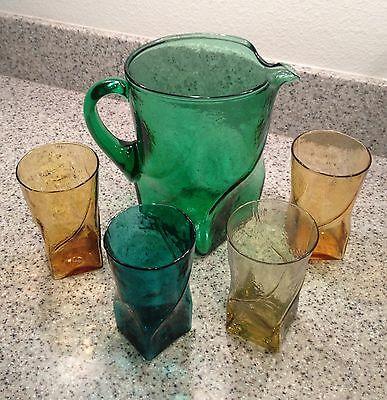 Vintage MORGANTOWN Glass SWIRL Pattern Large PITCHER and 4 TUMBLERS Set