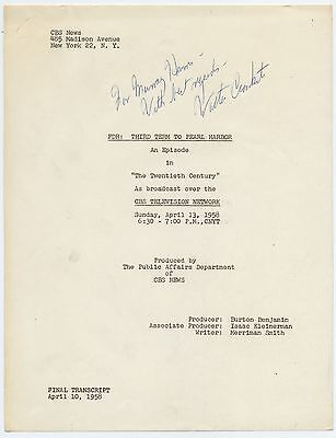 FDR: THIRD TERM TO PEARL HARBOR Script, CBS News, SIGNED by WALTER CRONKITE 1958
