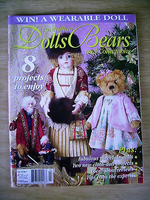 ADB&C Vol 12 #1~Doll & Bear Patterns~Sweet Pea~Charlotte~Beatrix~Cameo~Santa...