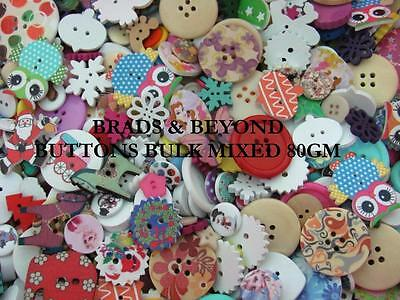 BB BUTTONS BULK MIXED LOT 80gms - huge 200+ pieces sewing craft wood acrylic