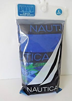 Nautica Boys Boxer Briefs Size Large 12/14 Fish Print/blue 2 Pair