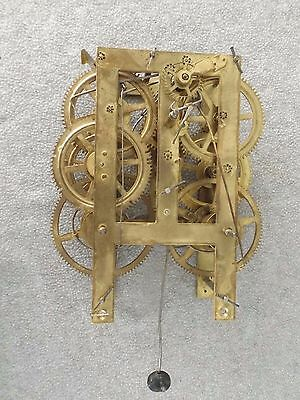Old Antique 1800S Ogee Lg Shelf Mantle Weight Driven Clock Movement Clock Parts