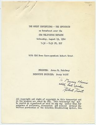 GREAT CONVENTIONS—THE DEMOCRATS Script, CBS News, SIGNED by ROBERT TROUT, 1964