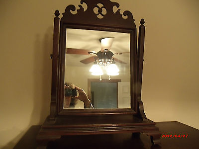 Antique Mahogany Dresser Top Shaving/dressing Mirror