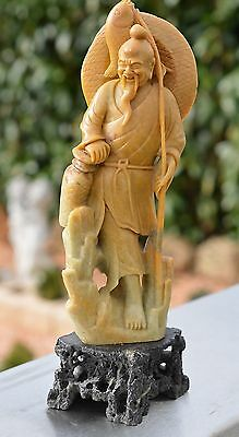 Old China Chinese Natural Shou Shan Hand-Carved Stone Fisherman Statue