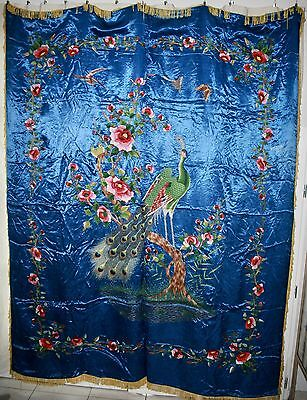 Rare China Chinese Qing Dynasty Hand-Sewn Peacock and Flowers Silk Embroidery