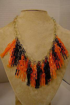 Vintage Celluloid Chain Plastic HALLOWEEN Charms Choker Necklace Devil Witches +