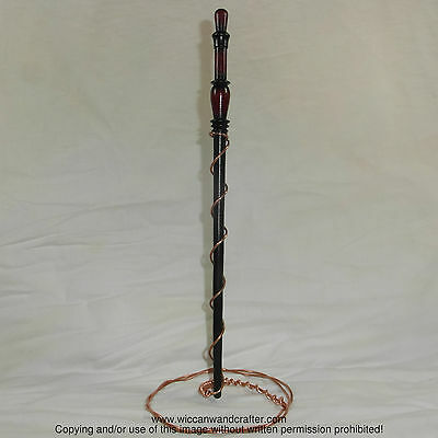 "13.5"" Hand Turned Indian Walnut Wood Magic Wand Witch Wizard Wicca"