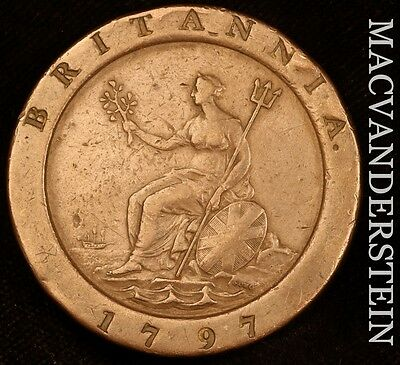 Great Britain:  1797 Two Pence - Very Fine+!!  Scarce!!  #t7391