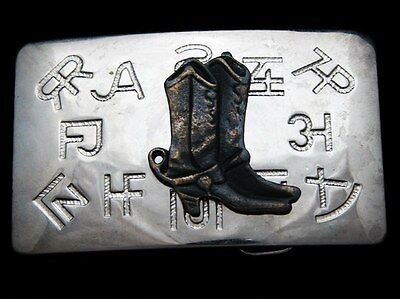 KD13115 VINTAGE 1970s CHAMBERS **COWBOY BOOTS - RANCH BRANDS** WESTERN BUCKLE