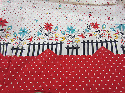 Vintage Uncut Whole Feed Sack- Red Dot Novelty Print for Quilting  FS#9