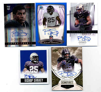 LOT OF (9) BISHOP SANKEY 2014 ROOKEI AUTOGRAPH and AUTO JERSEY PATCH #ED H5172