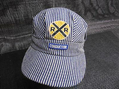Old Vtg RAILROAD CONDUCTOR HAT Cap Railways R&R Blue White Stripes Made USA