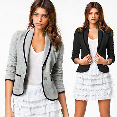 S-6XL Women's Two Button Slim Casual Business Blazer Suit Jacket Coat Outwear