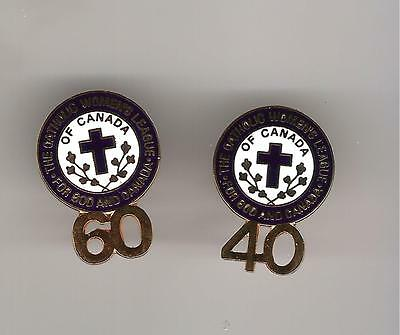 P20)  Lot of 2 pins - The Catholic Women's League of Canada - 40 + 60 years