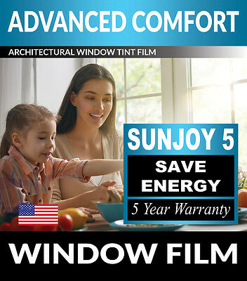 SunJoy 5 One Way Mirror Privacy Home Commercial Window Tint Film Solar UV Heat