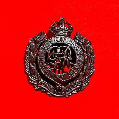 **superb Wwi Orig Royal Engineers Corps Officers George V Dark Bronze Cap Badge