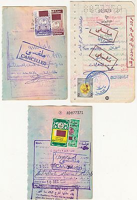 Qatar 5 Revenue Stamps On Document.