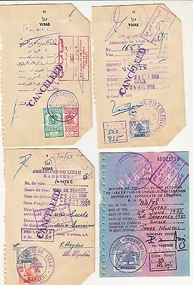 Syria Liban Lebanon 6 Revenue Stamps On Document.