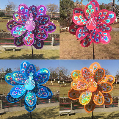 Double Layer Peacock Laser Sequins Colorful Windmill Wind Spinner Kids Toy