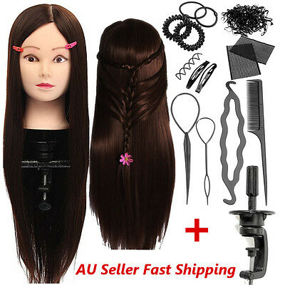 AU 26'' Hair Hairdressing Training Mannequin Practice Head + Braid Set Tools