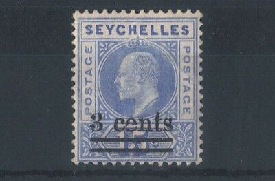 SEYCHELLES (SGB34) SG 57 - 1903 3 Cents on 15c with CD sideways for e -