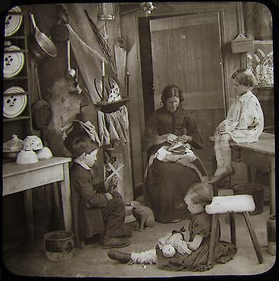 VICTORIAN Glass Magic Lantern Slide FAMILY TITLED HIS ONLY PAIR C1890 PHOTO