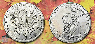 """GERMANY:- """"Frederick the Great"""" pre EURO Zone, 5 Mark circulation coin. ADP5731B"""