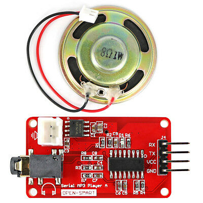 Red + Black UART Serial MP3 Music Player Module w/1W Speaker for Arduino