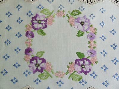 Gorgeous Hand Embroidered Vintage Centre - Purple Pansies - Crocheted Edging